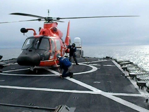 Coast Guard cutter Hamilton flight operations, Artic Ocean