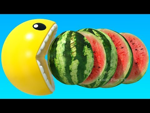 learn-names-and-cutting-3d-fruits-&vegetables-|-learning-colors-with-3d-pacman-fruits-and-vegetables