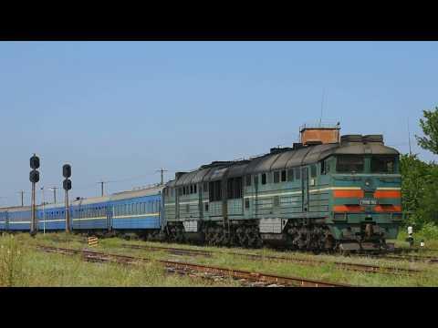 2ТЭ116-1154 с пассажирским поездом Бердянск - Харьков прибывает на ст.Верхний Токмак-1