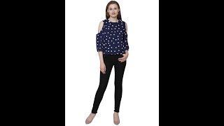 Navy Blue cold shoulder long sleeves polka dotes crepe women 39 s top