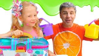Nastya y papá hacen una enorme baba multicolor