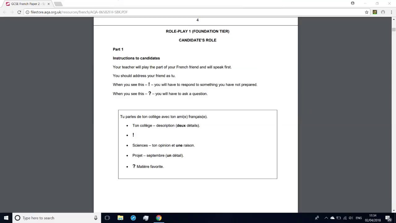 GCSE French Role Play Practice 1