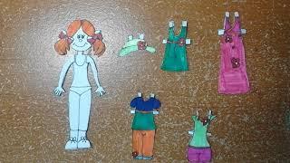 Как сделать куклу из бумаги со сменой одежды. Идея.
