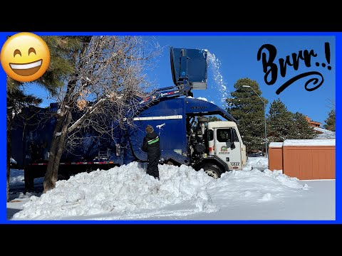 Garbage Truck Fun In The Snow!