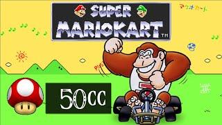 Super Mario Kart SNES Part 6 50cc Mushroom Cup Donkey Kong Jr.