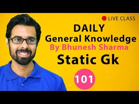 ✅  11:00 AM Daily GK Class #101 Static Gk for SSC, BANK, SBI, RBI, RRB, RAILWAY, UPSC, IAS in Hindi