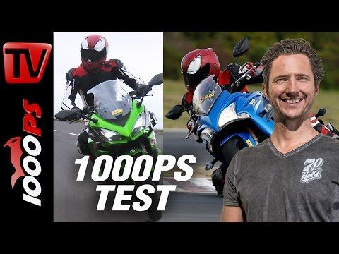 1000PS Test - Sporttourer Vergleich - Kawasaki Z1000SX vs. Suzuki GSX-S 1000F