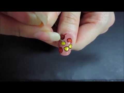 Осенние листья рисунок на ногтях