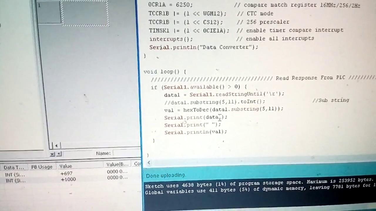 การอ่านค่าใน DM Omron PLC ด้วย Arduino Mega2560 - สามารถ โปรเจ็ค