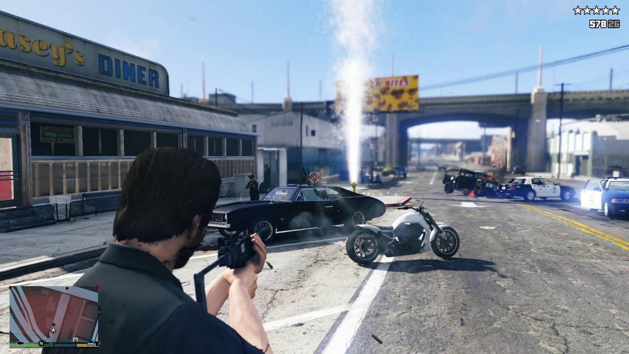 GTA 5 - The Diner Massacre + Five Star Escape