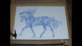 CNC Plotter Horse in the ornament Fountain pen drawing A3