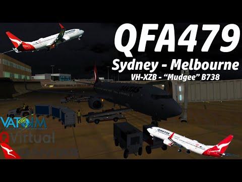 VATSIM FSX Sydney to Melbourne Qantas 479 PMDG 737-800NGXWL