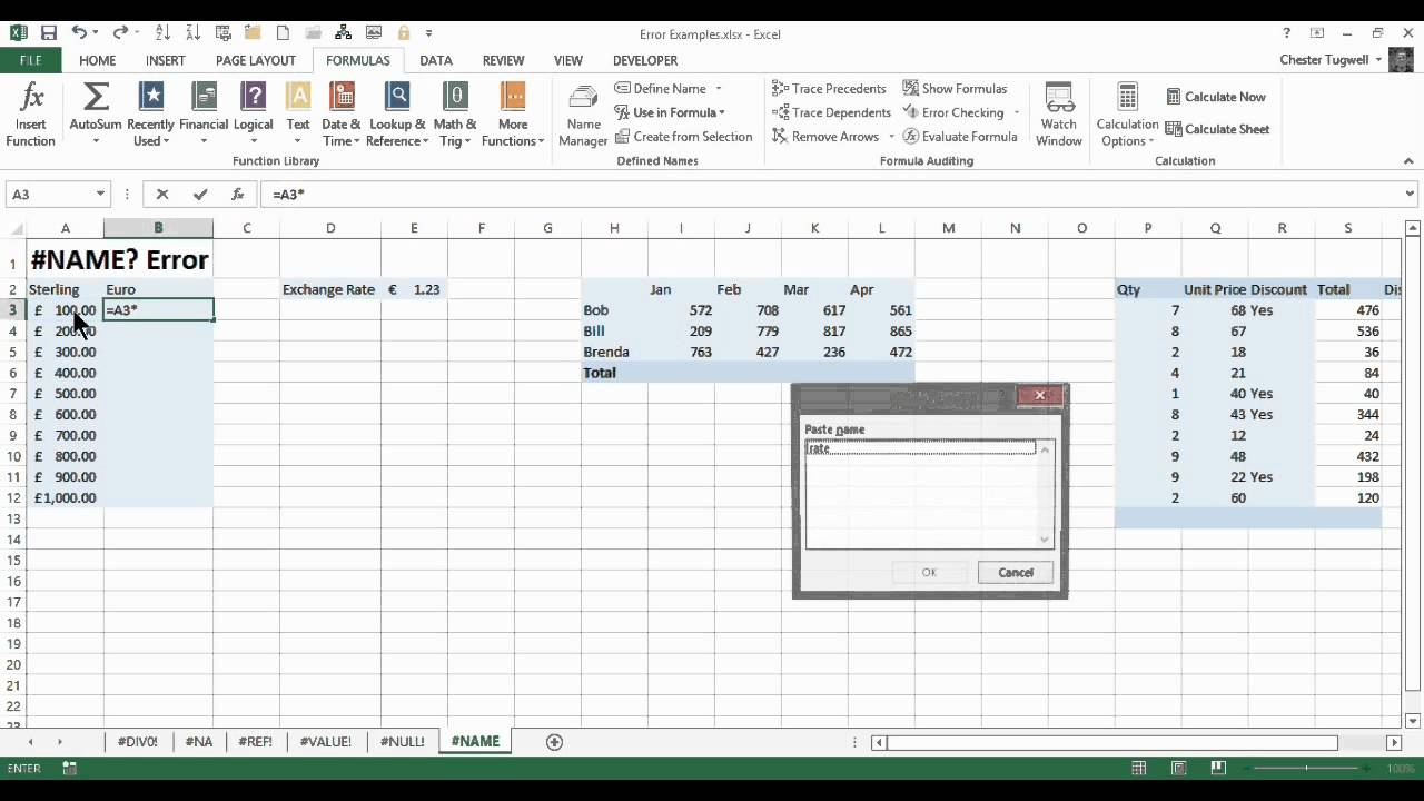 The Excel Name Error