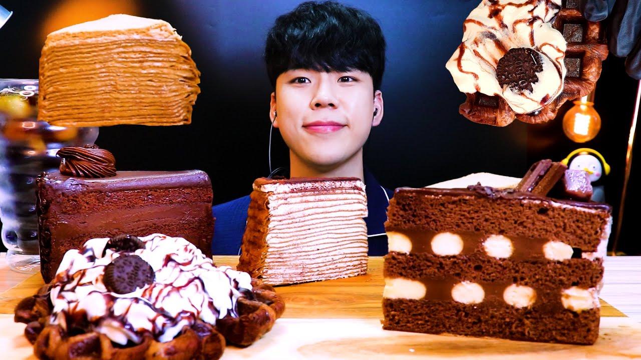 SUB)ASMR 초코 케이크 크레이프 케이크 초코 크로플 먹방 리얼사운드チョコケーキ CHOCOLATE CAKE MUKBANG DESSERT REAL SOUND