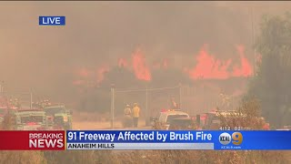 Brush Fire Shuts Down EB 91 Freeway