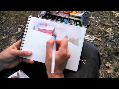 Plein Air Landscape Watercolor Painting Demo