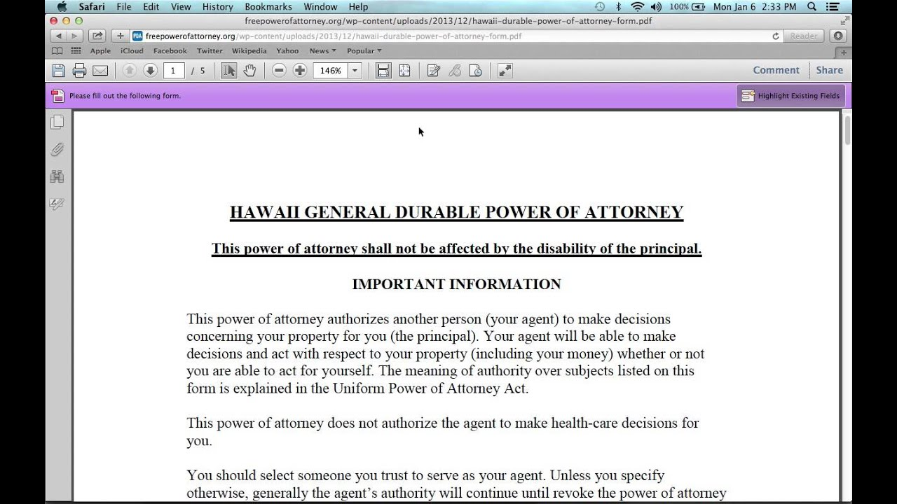 how to write a hawaii power of attorney form
