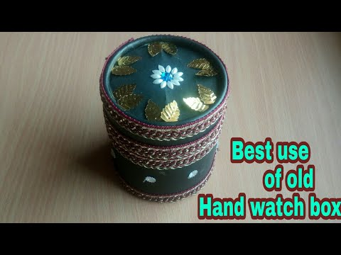 How to make  jewellery box/ Best use of old hand watch box/Old hand watch box to jewellery box