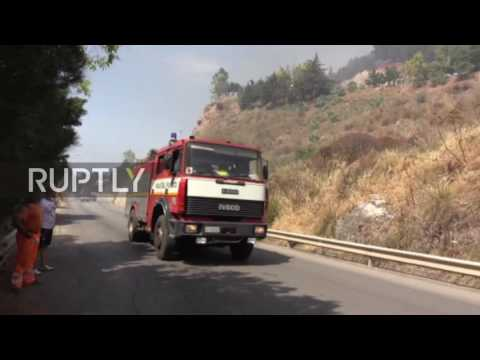 Italy: Firefighters battle flames as wildfire rips through Sicily