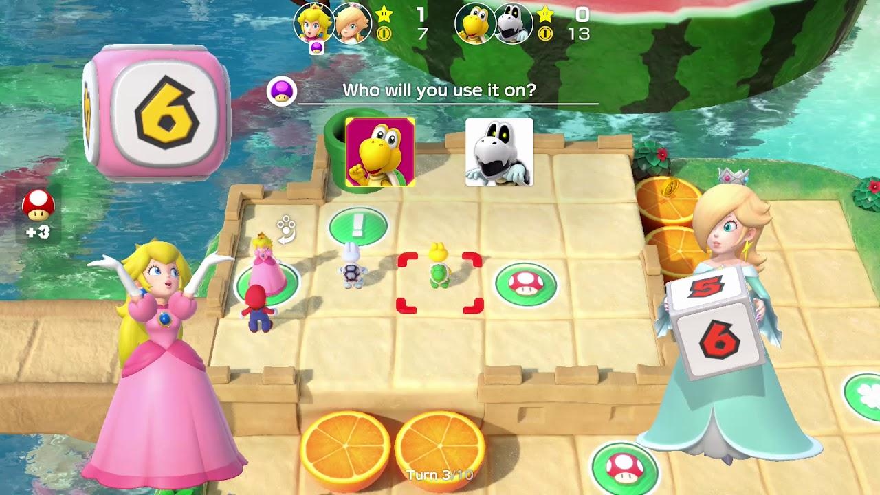 Super Mario Party Partner Party #188 Watermelon Walkabout Peach & Rosalina vs Koopa & Dry Bo