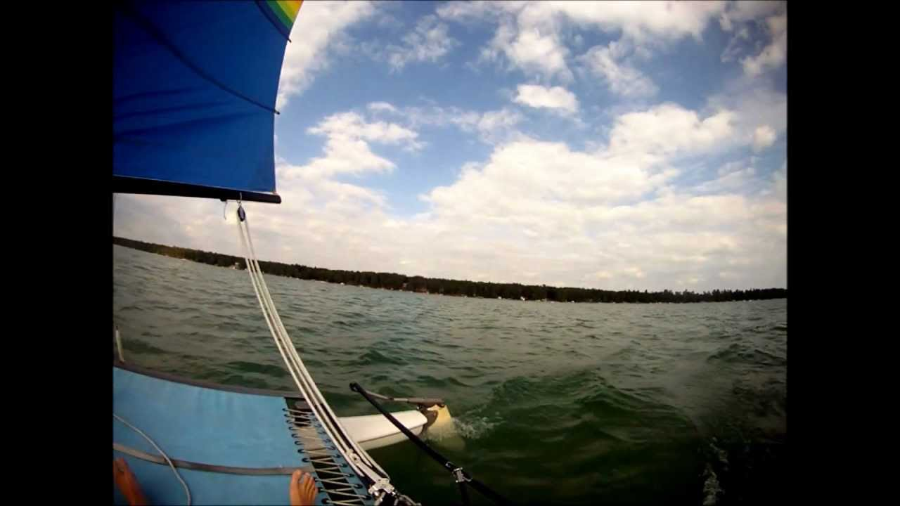 Hobie Cat 14 Turbo sailing on Higgins Lake