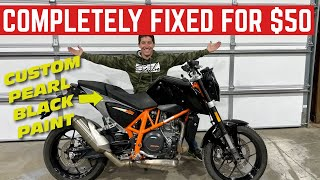 I Only Spent $50 To FIX The STOLEN KTM Duke 690 *ONE-OFF BLACK PAINT JOB*