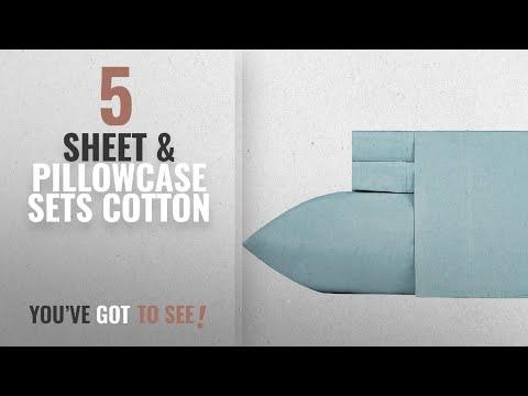 Top 10 Sheet & Pillowcase Sets Cotton [2018]: 400 Thread Count 100% Cotton Sheet Set, Blue Twin