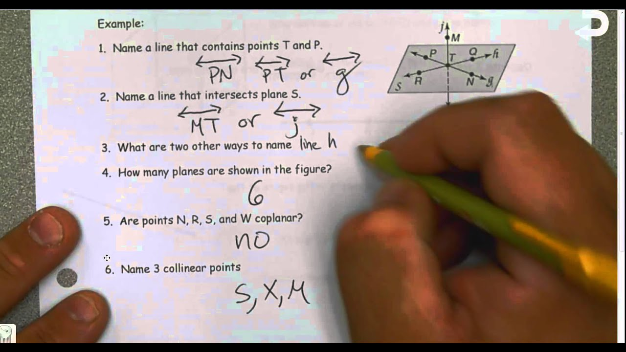 Geometry Unit 1 Lesson 1 Points Lines And Planes Youtube