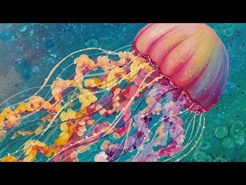 Jellyfish Acrylic Painting Tutorial Ocean Sea Life LIVE Beginner Lesson