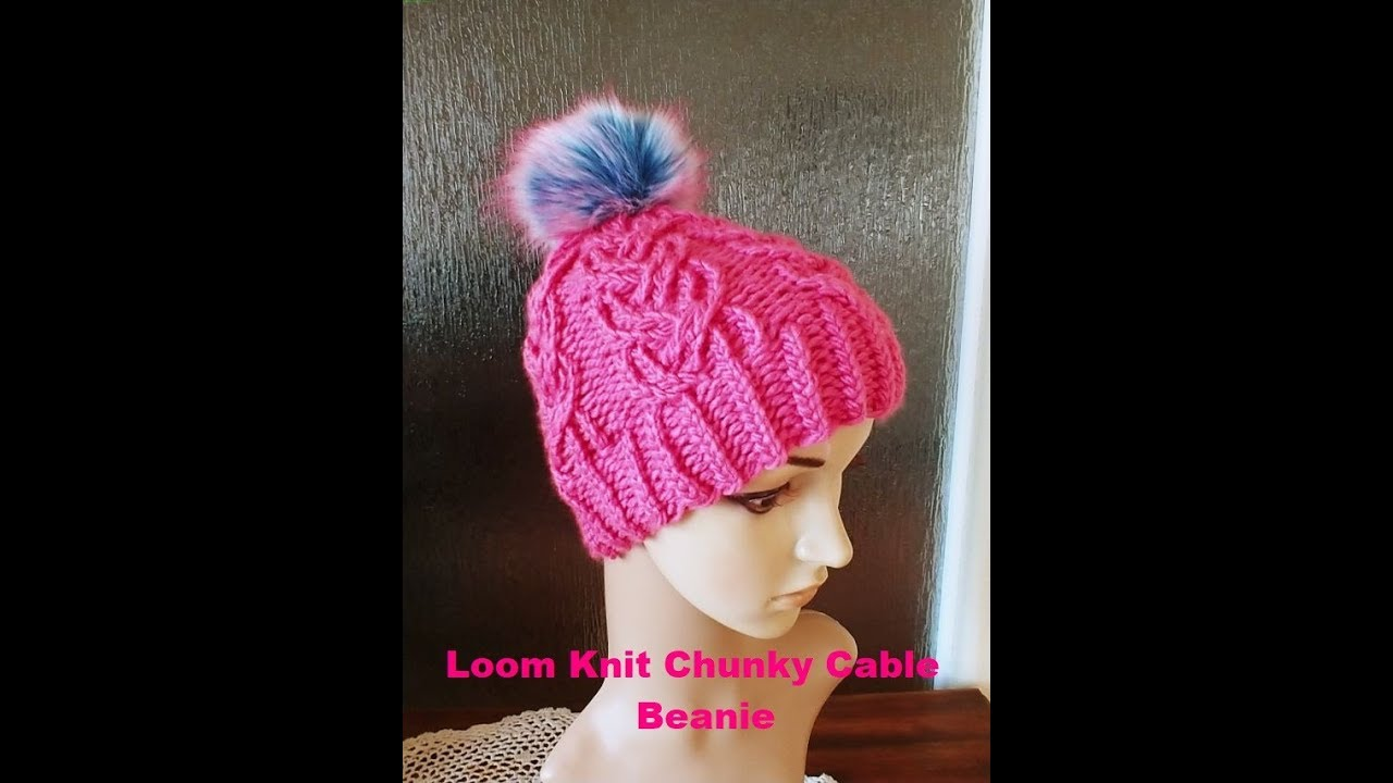 5275e7d8747 Loom Knit Chunky Cable Beanie Tutorial - YouTube