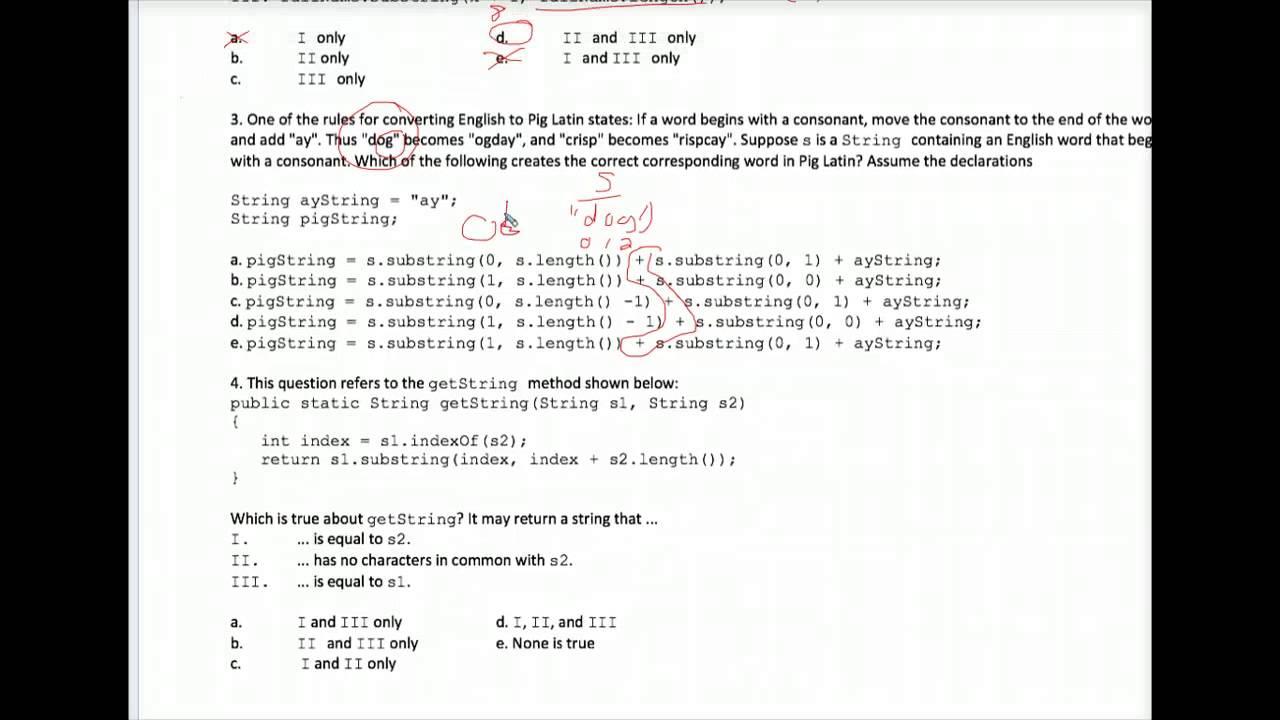 Java Strings Multiple Choice Worksheet 1 Youtube