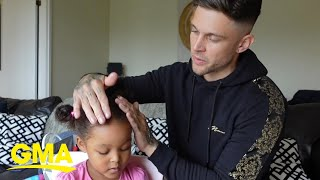 Dad doing his daughters hair is too cute to watch