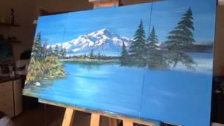 Рисуем Горный пейзаж, работа с акриловыми красками