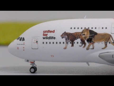 "Gemini Jets 1:400 Emirates ""United for Wildlife"" A380-800 Unboxing and Review"