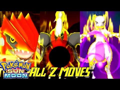 Pokémon Sun and Moon - All Z-Moves with Legendaries!