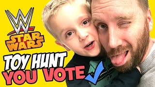 YOU VOTE Toy Hunt at Toys R Us with WWE Toys and Star Wars Toys and Spiderman Toys by KidCity
