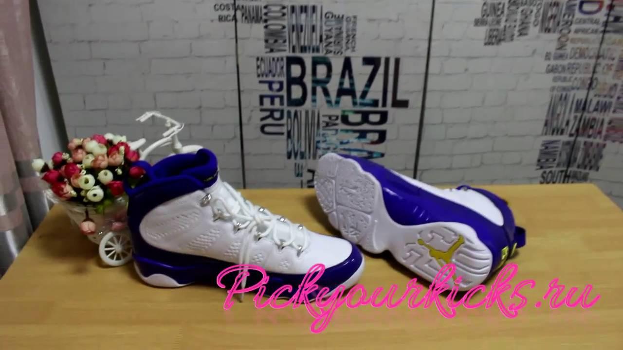 official photos 17011 a910b Restock AIR JORDAN 9 KOBE BRYANT LAKERS PE Purple White Details Review