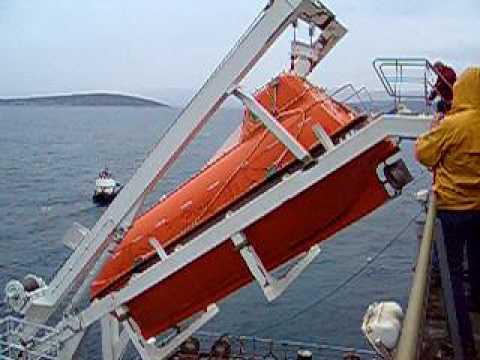 Marinvest vessel M/T Maribel, Free Fall Lifeboat Launching ...