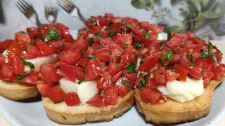 Брускетта с помидорами и сыром ! Итальянская закуска ! Вкусные , полезные рецепты ! ПП !