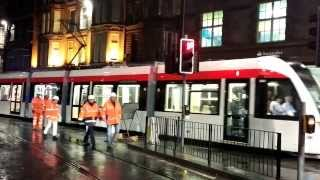 First Edinburgh Tram arrives on Princes Street