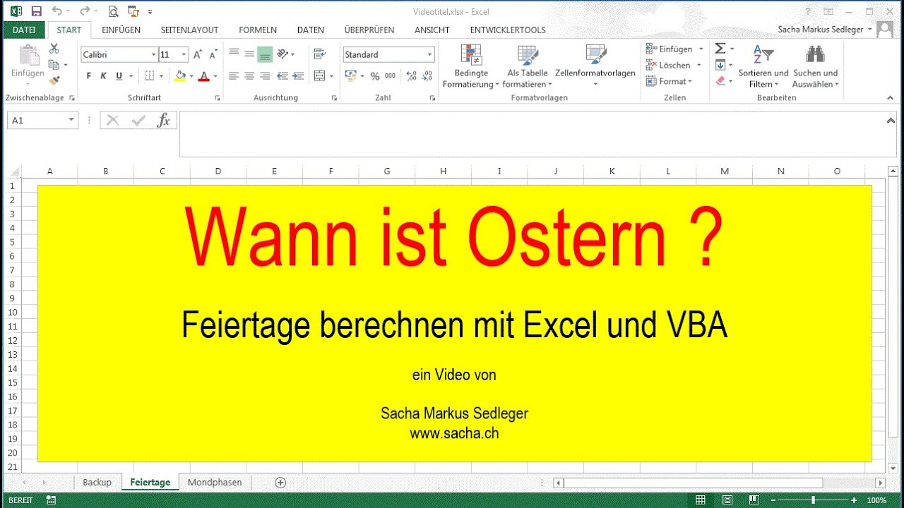 feiertage berechnen mit excel und vba youtube. Black Bedroom Furniture Sets. Home Design Ideas
