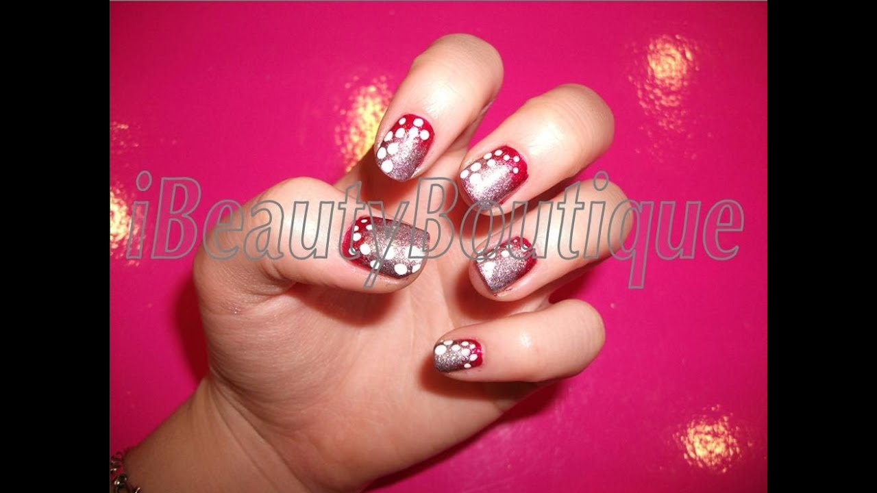 Christmas Sparkly Red And Silver - Nail Art | iBeautyBoutique - YouTube