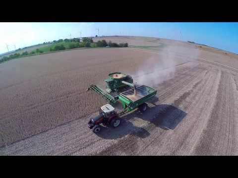 Soybean Harvest and a Wind Farm - September 2017