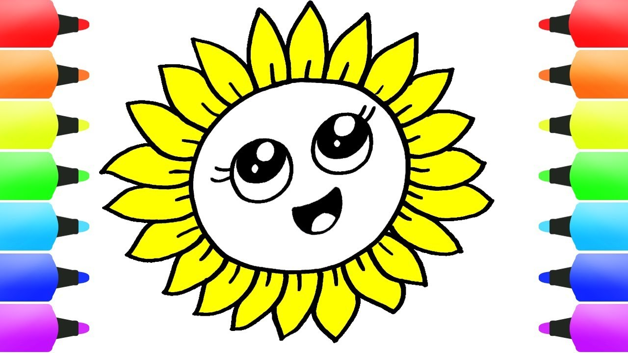 Cute Flowers Coloring Pages Easy How To Draw Flower Video