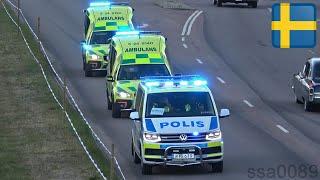 Polis och ambulans på utryckning i Västerås [SE | 7.2018]