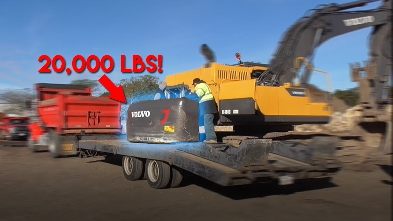 20,000 lb COUNTERWEIGHT | Moving Volvo 480 Excavator