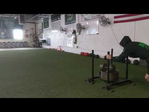 Double Sled work to overload hip extension + leg drive = speed