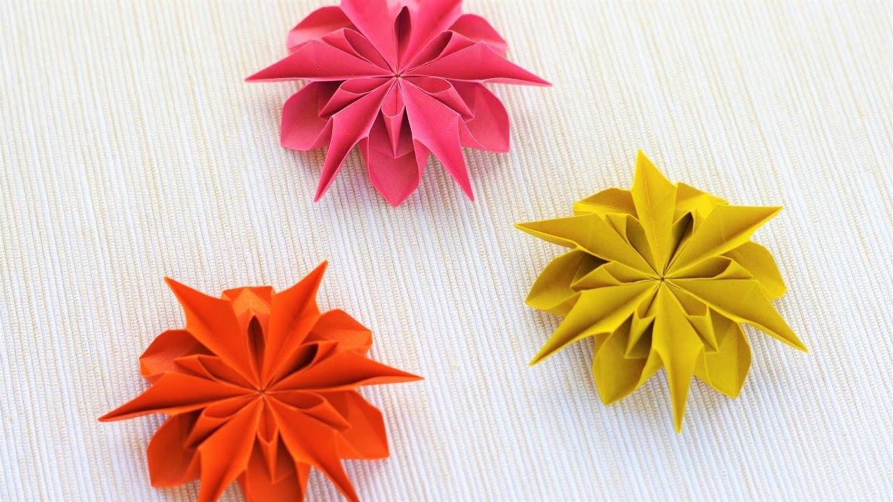 すべての折り紙 折り紙菊の折り方 : ... ダリアの折り方 作り方 - YouTube