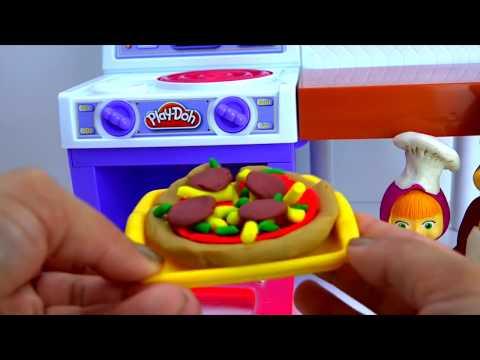 Плеи до пластилин набор Настоящая кухня с Машеи и медведем Play doh set Meal Makin Kitchen