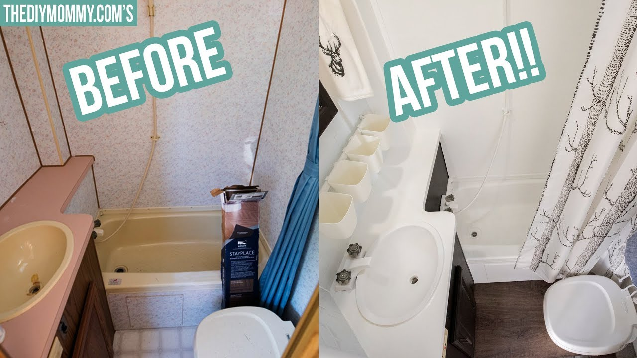 Rv Bathroom Makeover On A Budget Youtube